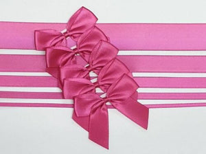 Cerise - Satin Ribbon & Self Adhesive Bow Multipack - 5 x 1m Mixed Width + 5 x 5cm Bows