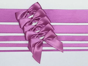 Clover Pink - Satin Ribbon & Self Adhesive Bow Multipack - 5 x 1m Mixed Width + 5 x 5cm Bows
