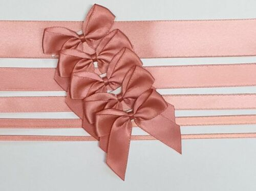 Coral - Satin Ribbon & Self Adhesive Bow Multipack - 5 x 1m Mixed Width + 5 x 5cm Bows