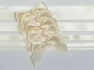 Cream - Satin Ribbon & Self Adhesive Bow Multipack - 5 x 1m Mixed Width + 5 x 5cm Bows