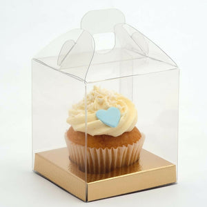 Premium Transparent Cube Square Cupcake Box- With Handle - 9cm/One Cupcake - Clear PVC With Gold Inserts