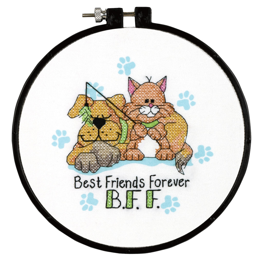 Dimensions Learn a Craft Cross Stitch Kit - Best Friends Forever BFF - Cat & Dog - Button Blue Crafts