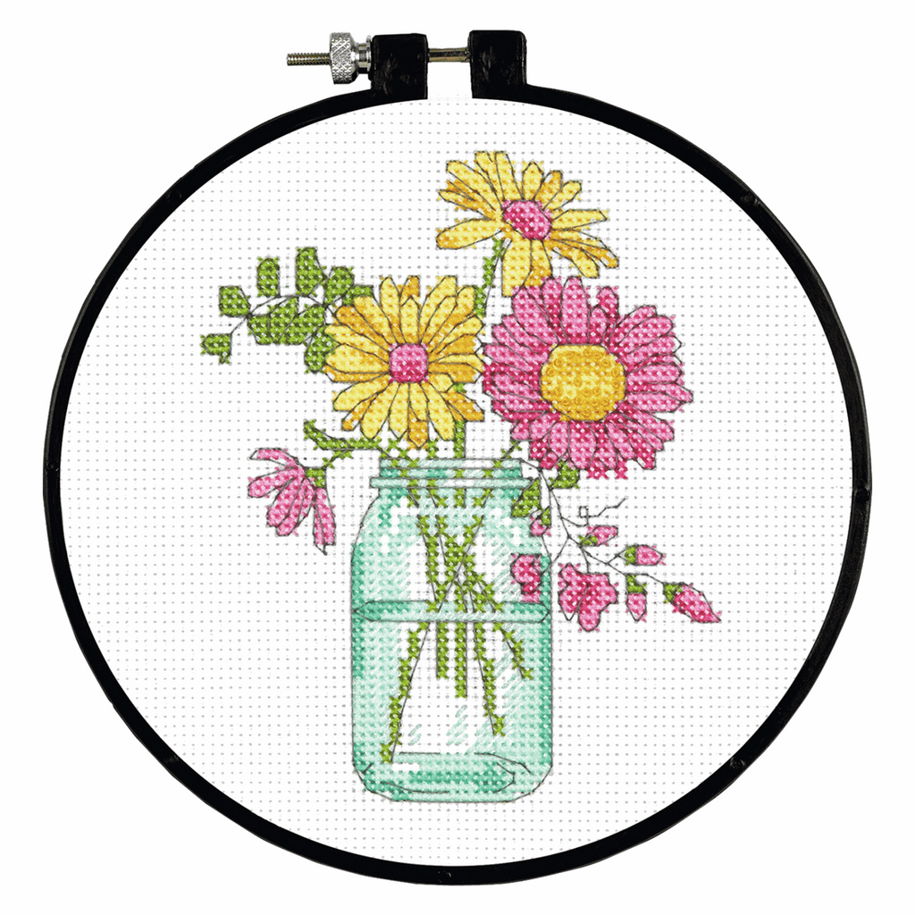 Dimensions Learn a Craft Counted Cross Stitch Kit - Summer Flowers - Flowers In A Vase