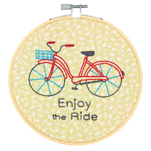 Dimensions Learn a Craft Crewel Embroidery Kit - Bicycle - Enjoy The Ride - Button Blue Crafts