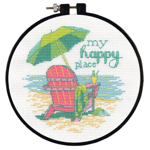 Dimensions Learn a Craft Counted Cross Stitch Kit - My Happy Place - Beach Scene - Button Blue Crafts