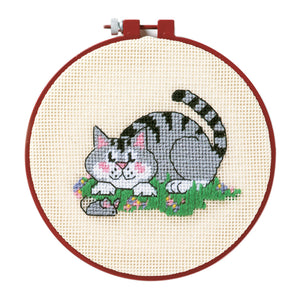 Dimensions Learn a Craft Needlepoint Tapestry Kit - Cat & Mouse - Button Blue Crafts