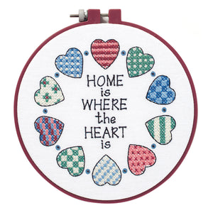 Dimensions Learn a Craft Cross Stitch Kit - Home Is Where The Heart Is - Button Blue Crafts