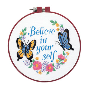 Dimensions Learn a Craft Crewel Embroidery Kit - Believe In Yourself - Butterflies - Button Blue Crafts