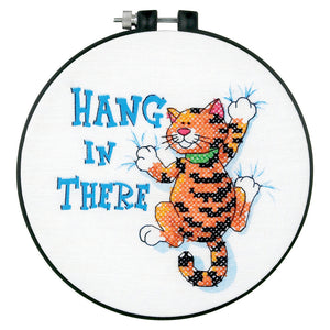 Dimensions Learn a Craft Cross Stitch Kit - Hang In There - Cat - Button Blue Crafts