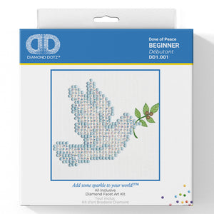 Dove of Peace - Diamond Dotz Complete Diamond Painting Facet Art Kit - Button Blue Crafts