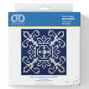 White On Blue - Diamond Dotz Complete Diamond Painting Facet Art Kit