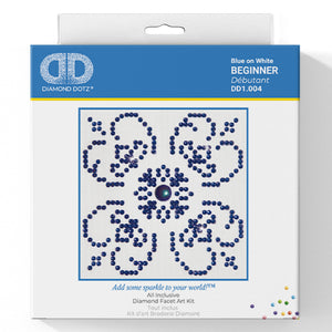 Blue On White - Diamond Dotz Complete Diamond Painting Facet Art Kit - Button Blue Crafts
