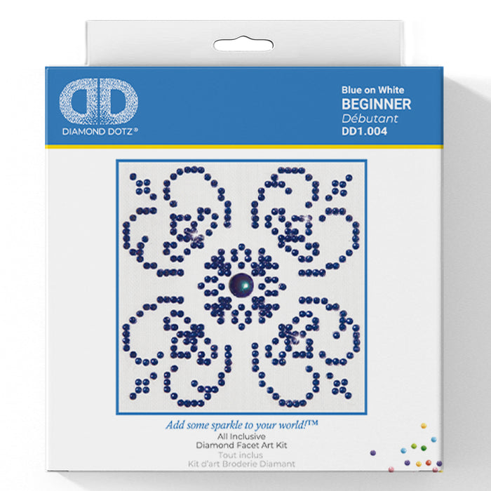 Blue On White - Diamond Dotz Complete Diamond Painting Facet Art Kit