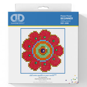 Flower Power - Diamond Dotz Complete Diamond Painting Facet Art Kit - Button Blue Crafts