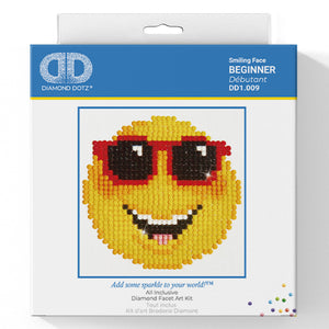 Smiling Face - Diamond Dotz Complete Diamond Painting Facet Art Kit - Button Blue Crafts