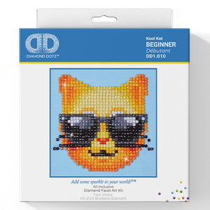 Kool Cat - Diamond Dotz Complete Diamond Painting Facet Art Kit - Button Blue Crafts