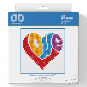 Love - Diamond Dotz Complete Diamond Painting Facet Art Kit - Button Blue Crafts
