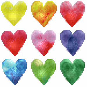 Diamond Dotz - Love Rainbow - Hearts - 5d Diamond Crystal Painting Kit 23cm x 23cm