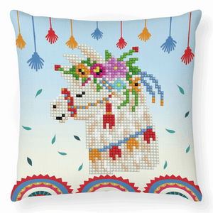 Diamond Dotz - Llama Party - Cushion - 5d Diamond Crystal Painting Kit 18cm x 18cm