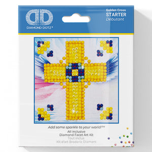 Golden Cross - Diamond Dotz Complete Diamond Painting Facet Art Kit - Button Blue Crafts