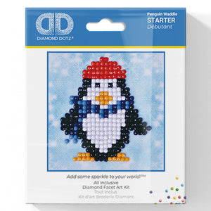 Penguin Waddle - Diamond Dotz Complete Diamond Painting Facet Art Kit - Button Blue Crafts