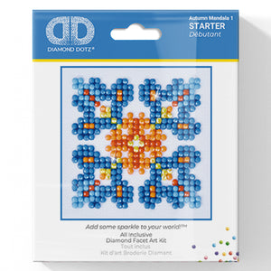 Autumn Mandala 1 - Diamond Dotz Complete Diamond Painting Facet Art Kit - Button Blue Crafts