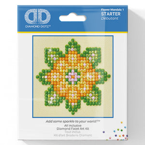 Flower Mandala 1 - Diamond Dotz Complete Diamond Painting Facet Art Kit - Button Blue Crafts