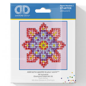 Flower Mandala 2 - Diamond Dotz Complete Diamond Painting Facet Art Kit - Button Blue Crafts