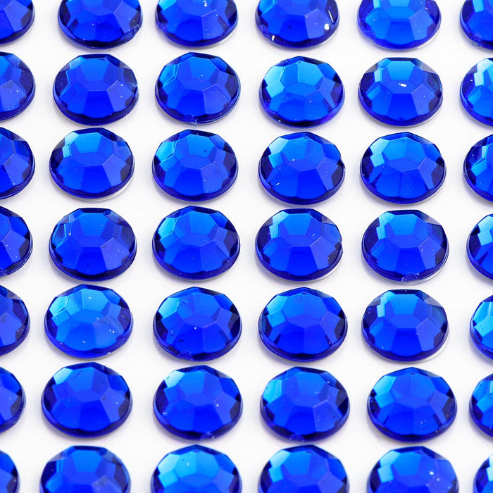 Royal Blue Diamante On A Sheet - Rhinestone Craft Stickers - 7 Sizes