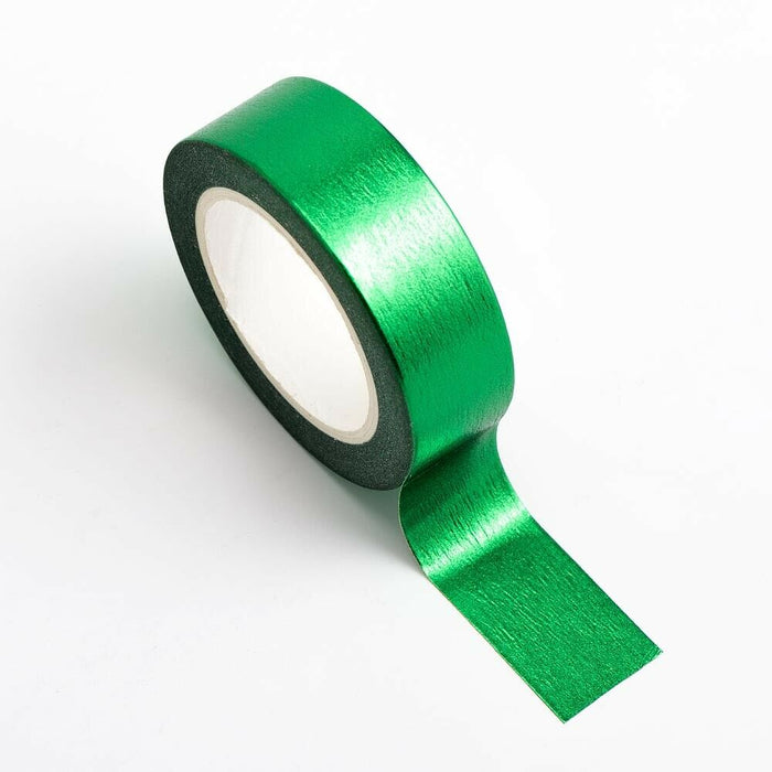 Emerald Green - Foil Washi Tape 15mm x 10m Repositionable Adhesive Roll