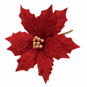 Red and Gold Velvet Large Poinsettia - Christmas Flowers, Christmas Crafts, Christmas Card Making