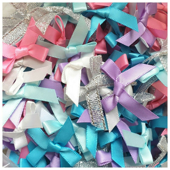Fantasy Mix - Miniature Pre Tied Bows - 30 x 3cm x 6mm Satin Ribbon