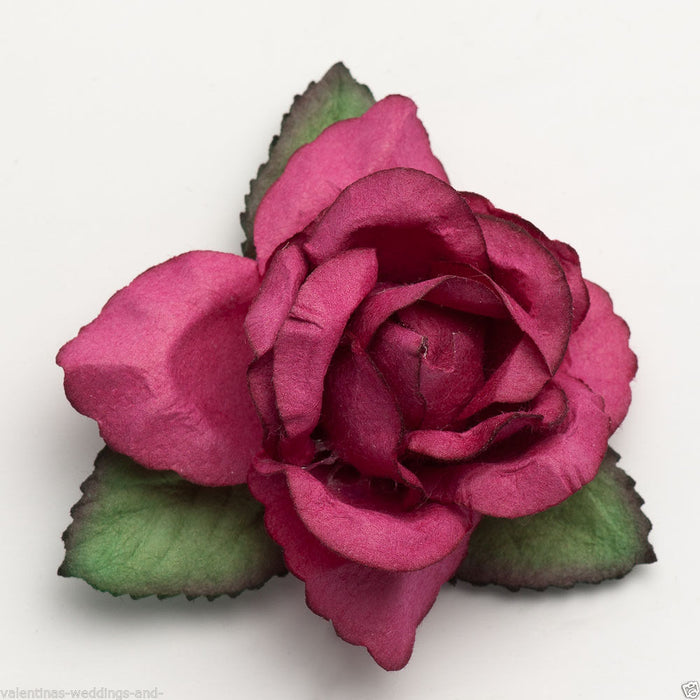 Large 50mm Fuchsia Roses - Mulberry Paper Flowers - Wedding Headband Decoration Craft