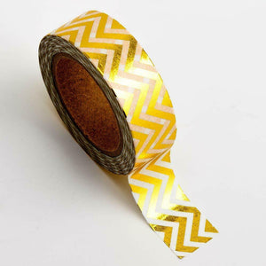 Gold Chevron - Foil Washi Tape 15mm x 10m Repositionable Adhesive Roll
