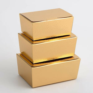 Small 103x67x45mm Truffle Ballotin Boxes - Gold Pelle - Wedding Favour Handmade Sweets Christmas Gift
