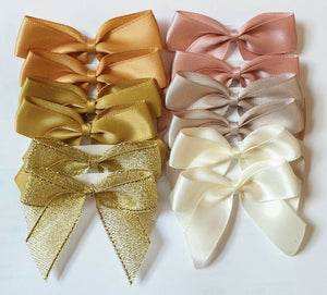 Gold Mix - Self Adhesive Pre Tied Bows - 5cm x 16mm Satin Ribbon