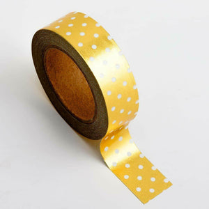 Gold Polka Dot - Foil Washi Tape 15mm x 10m Repositionable Adhesive Roll