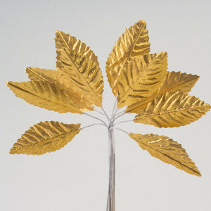 Artificial Satin Leaf Stems 35mm or 65mm - Gold - Bunch of 12 For Wedding, Home, Hair and Kids Crafts