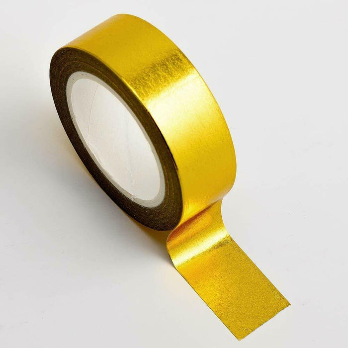 Gold - Foil Washi Tape 15mm x 10m Repositionable Adhesive Roll