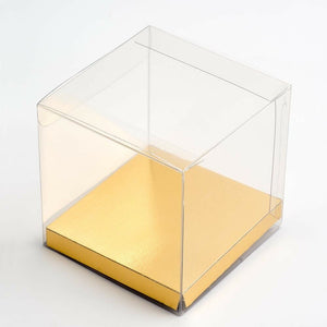 Gold 10cm Square Platform For Transparent Favour Boxes - Wedding Favours, Homemade Gifts and Treat Display