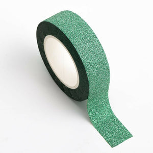 Green - Glitter Washi Tape 15mm x 10m Repositionable Adhesive Roll