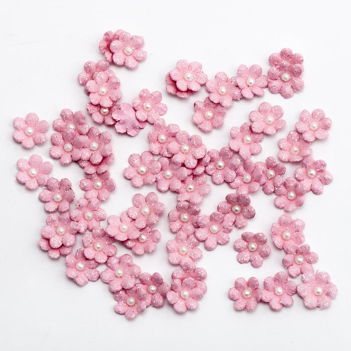 1cm Pink Mini Paper Forget Me Not Flowers With Pearl & Glitter
