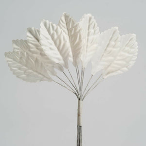 Artificial Miniature Satin Leaf Stems - Ivory - Bunch of 12 For Wedding, Home, Hair and Kids Crafts