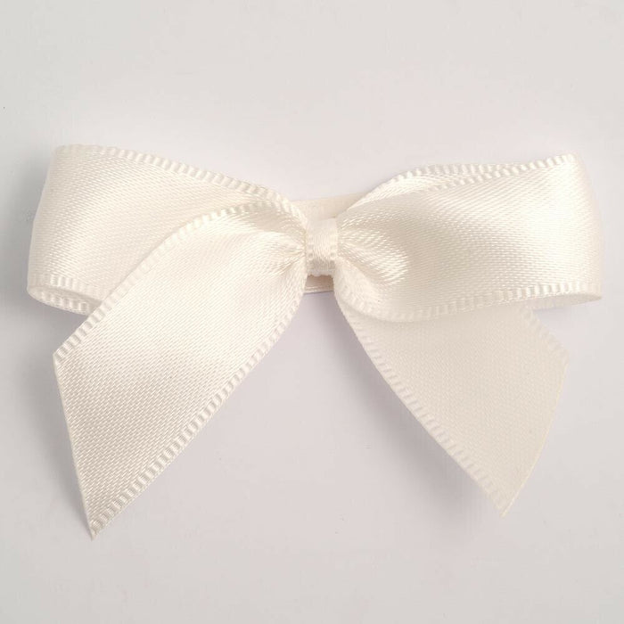 Ivory - Satin Ribbon & Self Adhesive Bow Multipack - 5 x 1m Mixed Width + 5 x 5cm Bows