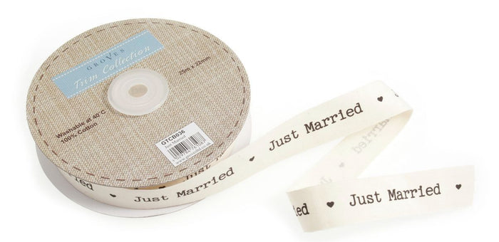 Wedding Ribbon - Just Married Typewriter Font 22mm Ivory Cut Length