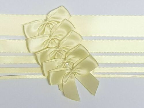 Lemon - Satin Ribbon & Self Adhesive Bow Multipack - 5 x 1m Mixed Width + 5 x 5cm Bows