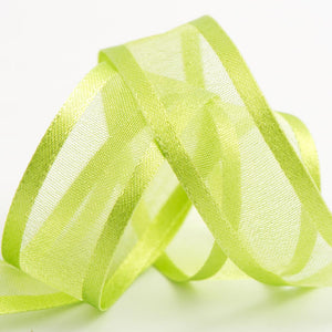 Light Green - Satin Edge Organza - Sheer Ribbon - 4 Widths - Button Blue Crafts