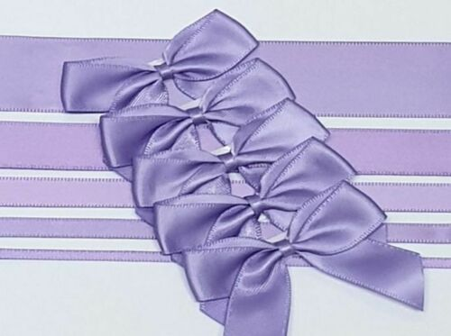 Lilac - Satin Ribbon & Self Adhesive Bow Multipack - 5 x 1m Mixed Width + 5 x 5cm Bows