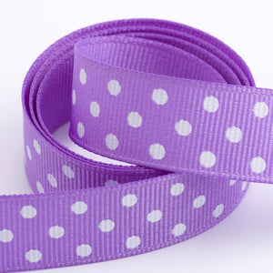 Lilac - Polka Dot Grosgrain Ribbon - 15mm, 25mm - White Dots - Button Blue Crafts