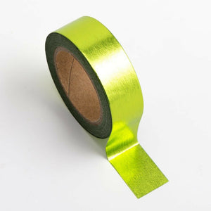 Lime Green - Foil Washi Tape 15mm x 10m Repositionable Adhesive Roll